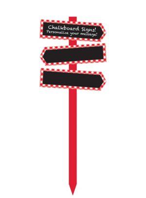 Red Gingham Chalkboard Yard Stake