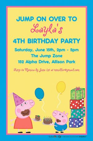 Custom Peppa Pig Invitation