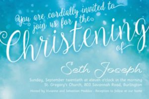 Custom Handwriting on Ombre Blue Invitation