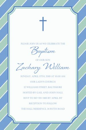 Custom Simple Cross and Stripes Invitation