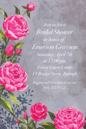 Custom Floral Brush Stroke Invitation