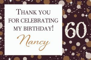 Custom Sparkling Celebration 60 Thank You Note