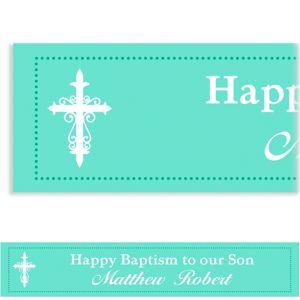 Custom Fancy Baptism Cross Teal Banner