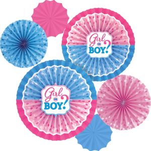 Girl or Boy Gender Reveal Paper Fan Decorations 6ct