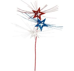 Glitter Red, White & Blue Stars Spray Stem