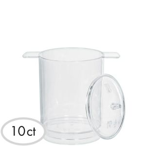 Mini CLEAR Plastic Pots with Lids 10ct