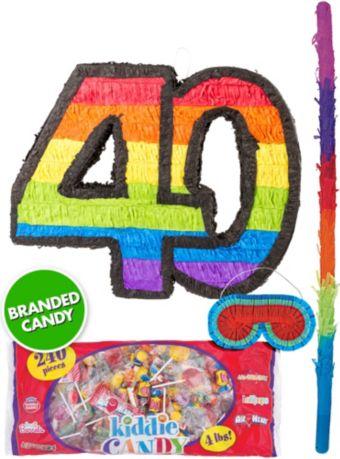 Rainbow Number 40 Pinata Kit