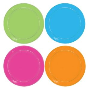 Black Light Neon Plastic Lunch Plates 24ct