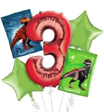 Prehistoric Dinosaurs 3rd Birthday Balloon Bouquet 5pc