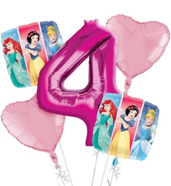 Disney Princess 4th Birthday Balloon Bouquet 5pc