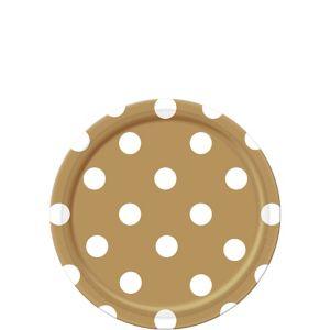 Gold Polka Dot Dessert Plates 8ct