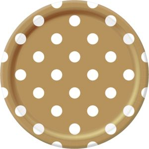 Gold Polka Dot Lunch Plates 8ct