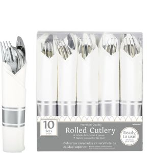Rolled Silver Premium Plastic Cutlery Sets 10ct