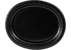 Black Paper Oval Plates 20ct