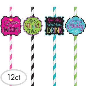 Fun Messages Striped Paper Straws 12ct