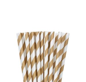 Gold Striped Paper Straws 24ct