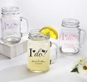PERSONALIZED Wedding Mason Jar Mugs (Printed Glass) (White, I Do)