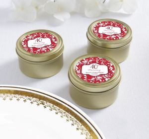 PERSONALIZED Wedding Round Candy Tins - Gold (Printed Label) (40th Anniversary)