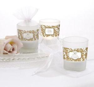 PERSONALIZED Wedding Glass Votive Candle Holders (Printed Label) (50th Anniversary)
