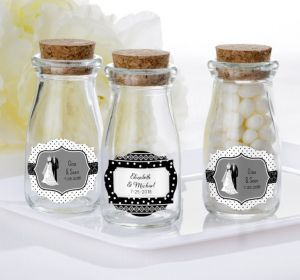 PERSONALIZED Wedding Glass Milk Bottles with Corks (Printed Label) (Black & White Wedding)