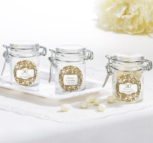 PERSONALIZED Wedding Small Glass Jars (Printed Label) (50th Anniversary)