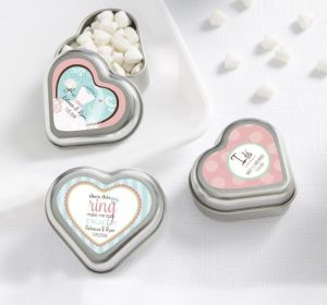 PERSONALIZED Wedding Heart-Shaped Mint Tins with Candy (Printed Label ) (Ring Engaged)