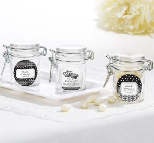 PERSONALIZED Wedding Small Glass Jars (Printed Label) (Damask & Dots)
