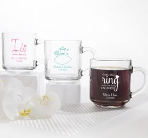 PERSONALIZED Wedding Glass Coffee Mugs (Printed Glass) (White, I Do Woo Hoo)