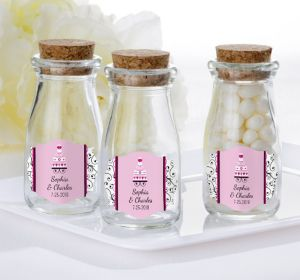 PERSONALIZED Wedding Glass Milk Bottles with Corks (Printed Label) (Sweet Wedding Cake)