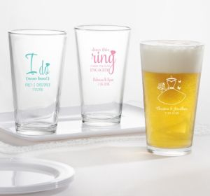 PERSONALIZED Wedding Pint Glasses (Printed Glass) (Black, Ring Engaged)