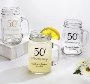PERSONALIZED Wedding Mason Jar Mugs (Printed Glass) (Gold, 50th Anniversary)