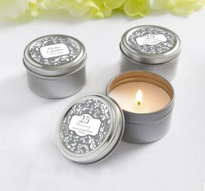 PERSONALIZED Wedding Candle Tins (Printed Label) (Silver Elegant Scroll)
