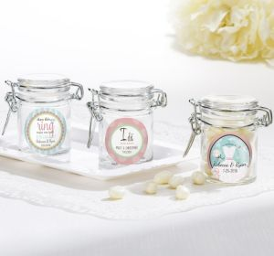 PERSONALIZED Wedding Small Glass Jars (Printed Label) (I Do)