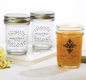 PERSONALIZED Wedding Mason Jars with Solid Lids (Printed Glass) (White, Damask & Dots)