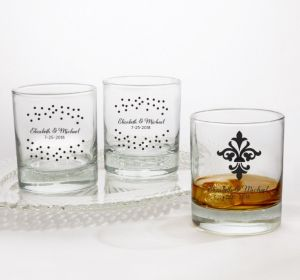 PERSONALIZED Wedding Rocks Glasses (Printed Glass) (White, Damask & Dots)