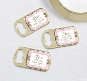 PERSONALIZED Wedding Bottle Openers - Gold (Printed Epoxy Label) (Sparkling Pink Wedding)