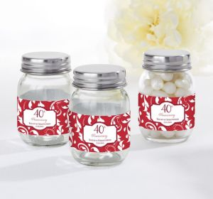 PERSONALIZED Wedding Mini Glass Mason Jars (Printed Label) (40th Anniversary)