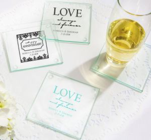 PERSONALIZED Wedding Glass Coasters, Set of 12 (Printed Glass) (Black, Always & Forever Damask)