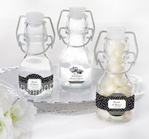 PERSONALIZED Wedding Glass Swing Top Bottles (Printed Label) (Damask & Dots)