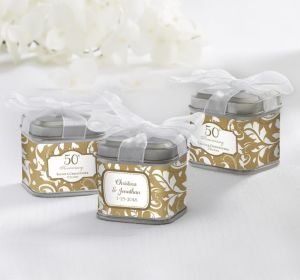 PERSONALIZED Wedding Favor Tins with Bows (Printed Label) (Gold Elegant Scroll)