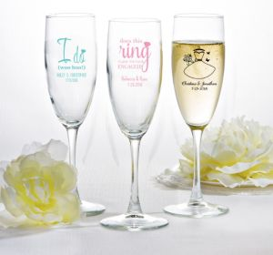 PERSONALIZED Wedding Champagne Flutes (Printed Glass) (White, Ring Engaged)