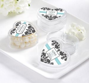 PERSONALIZED Wedding Heart-Shaped Plastic Favor Boxes (Printed Label)