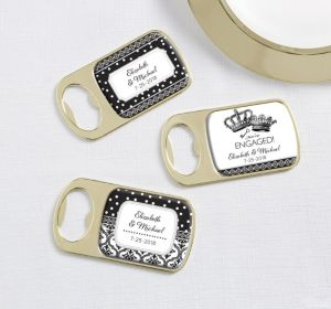 PERSONALIZED Wedding Bottle Openers - Gold (Printed Epoxy Label) (Damask & Dots)