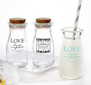 PERSONALIZED Wedding Glass Milk Bottles with Corks (Printed Glass) (White, Always & Forever Damask)