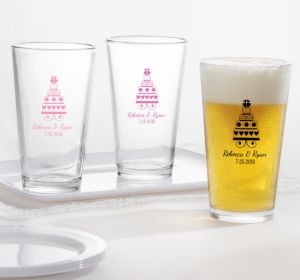 PERSONALIZED Wedding Pint Glasses (Printed Glass) (White, Sweet Wedding Cake)