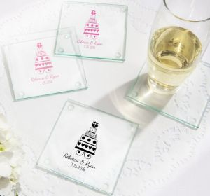 PERSONALIZED Wedding Glass Coasters, Set of 12 (Printed Glass) (Pink, Sweet Wedding Cake)