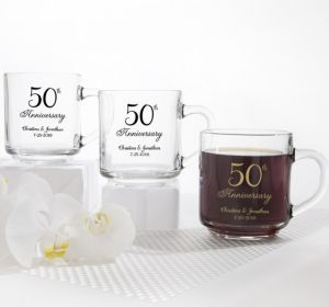 PERSONALIZED Wedding Glass Coffee Mugs (Printed Glass) (50th Anniversary Elegant Scroll)