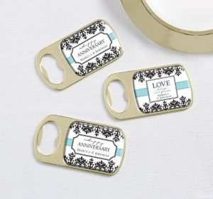 PERSONALIZED Wedding Bottle Openers - Gold (Printed Epoxy Label)