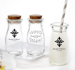 PERSONALIZED Wedding Glass Milk Bottles with Corks (Printed Glass) (White, Damask & Dots Engagement)