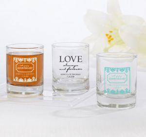 PERSONALIZED Wedding Shot Glasses (Printed Glass) (Black, Always & Forever Damask) (Black, Always & Forever Damask)